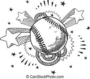 野球, 興奮, スケッチ