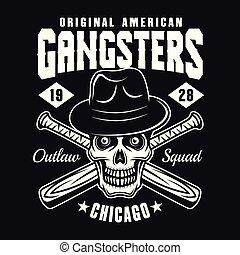野球, 頭骨, ギャング, コウモリ, 黒い帽子