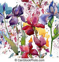野生の花, 水彩画, パターン, 花, style., アイリス
