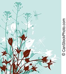 野生の花, 緑の背景