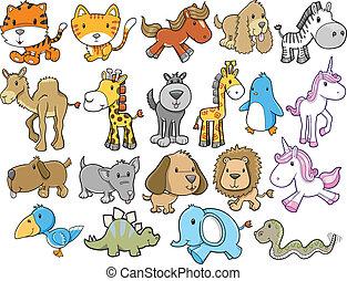 野生生物, ベクトル, セット, 動物, サファリ