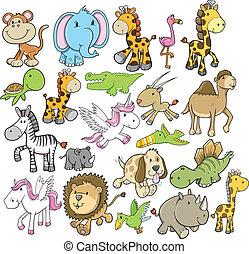野生生物, ベクトル, デザイン, セット, 動物