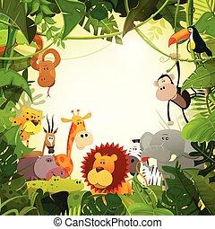 野生生物, 動物, ジャングル, 背景