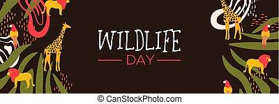 野生生物, 日, サファリ, 網, 旗, ∥で∥, 野生 動物