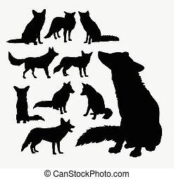 野生, シルエット, キツネ, 動物