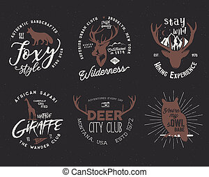 野生, デザイン, よい, キツネ, set., shapes., 鹿, 隔離された, フクロウ, ティー, 暗い, バックグラウンド。, キリン, 動物, included, バッジ, 株