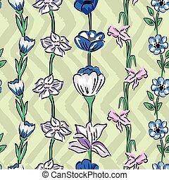 野生, パターン, セージ, seamless, zig, 背景, zag, オリーブ, 花