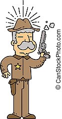 野生, 保安官, スタイル, 伝統的である, 西, 入れ墨