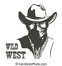 野生, 肖像画, 西部, アメリカの西, 人, ベクトル, mask., 山賊, 帽子, バンダナ, カウボーイ