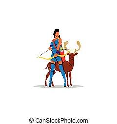 野生, fertility., chastity, ギリシャの女神, artemis, 野生生物, 女性, 探求, 印...