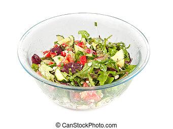 野菜, サラダ, 大きいガラス, ボール