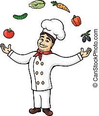 野菜, シェフ, ジャッグルする, 成果, 漫画, イタリア語