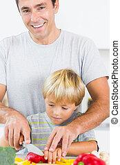 野菜, スライス, 父, 息子, 助力