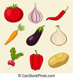 野菜, セット, アイコン