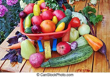 野菜, テーブル, 新たに, ワゴン