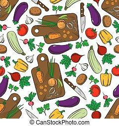 野菜, パターン, seamless, サラダ, 原料