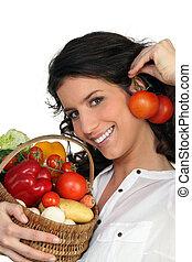 野菜, ブルネット, 保有物