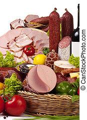 野菜, ワイン, 肉, 構成