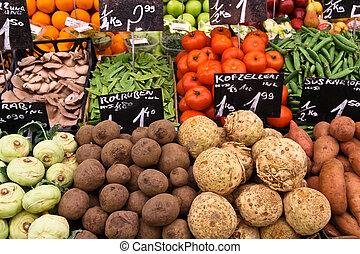 野菜, 上に, a, 市場