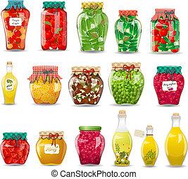 野菜, 型, きのこ, コレクション, 蜂蜜, ガラス, フルーツ, デザイン, 維持された, ジャー, あなたの