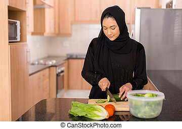 野菜, 女, たたき切る, muslim