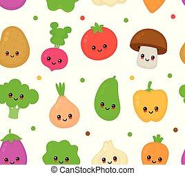 野菜, 幸せ, かわいい, 微笑, コレクション