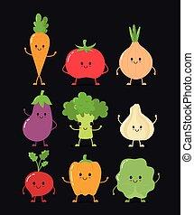 野菜, 幸せ, かわいい, 微笑, 未加工