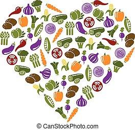 野菜, 心, アイコン