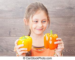 野菜, 手掛かり, 子供