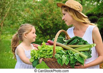 野菜, 新たに, 女, 娘, 若い