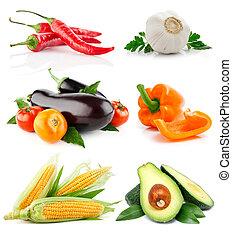 野菜, 白, セット, 隔離された, 成果