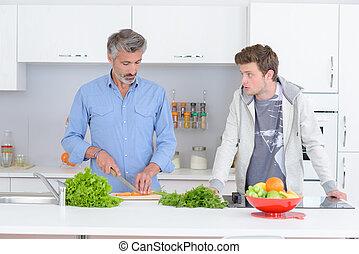 野菜, 監視, 準備, 人, 息子