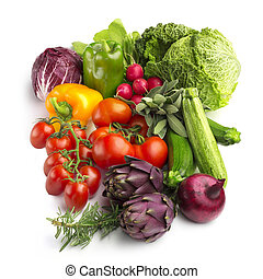 野菜, 隔離された, コレクション, 背景, 新たに, 白