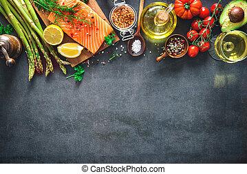 野菜, 鮭, フィレ, 芳香がする, ハーブ, 新たに, スパイス