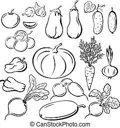 野菜, pictograms, セット, アウトライン