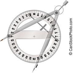 量角器, 指南针
