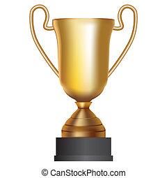 金のコップ, 白, 勝者, illustration., バックグラウンド。