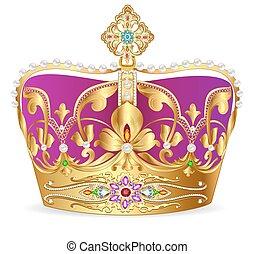金の王冠, 装飾, 宝石, イラスト, 皇族