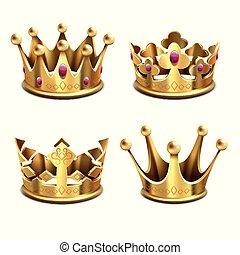 金の王冠, set., 君主制, 皇族, ベクトル, 国王, attributes, 3d