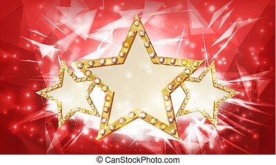 金の 星, vector., rays., 3, シルエット, の, 金, ディスコ, カジノ, カーニバル, 星, 印。, 旗, ポスター, template., ビジネス 実例
