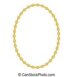 金の 鎖, イラスト, バックグラウンド。, ベクトル, 白, 宝石類