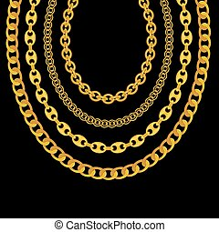 金の 鎖, イラスト, バックグラウンド。, ベクトル, 黒, 宝石類
