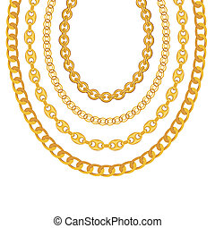 金の 鎖, イラスト, バックグラウンド。, 白, 宝石類