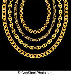 金の 鎖, イラスト, バックグラウンド。, 黒, 宝石類