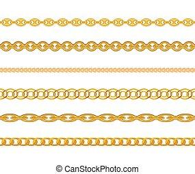 金の 鎖, パターン, seamless, イラスト, バックグラウンド。, ベクトル, 宝石類