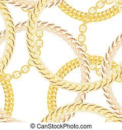 金の 鎖, パターン, seamless, バックグラウンド。, ベクトル, illustrat, 宝石類