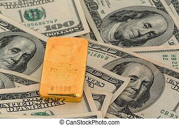金バー, 上に, ドル札
