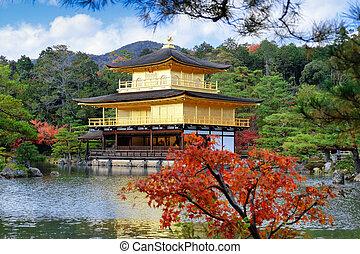 金パビリオン, 季節, 葉, kinkakuji, 秋, 寺院, 赤
