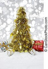 金ピカ物, クリスマスツリー, 中に, 雪
