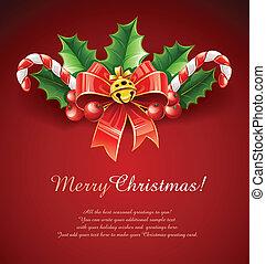 金ベル, 葉, 弓, 装飾, 西洋ヒイラギ, クリスマス, 赤